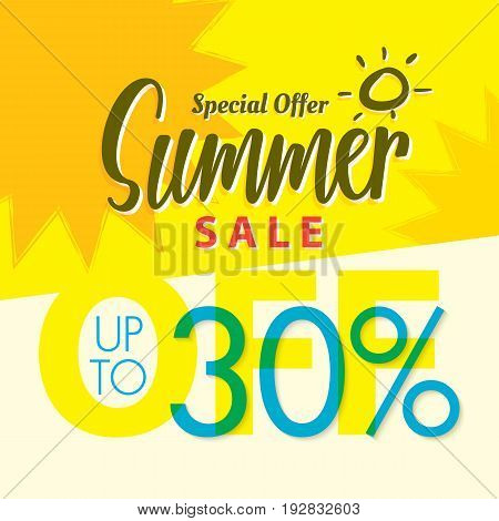 Summer Sale Set V.2  30 Percent Yellow  Heading Design For Banner Or Poster. Sale And Discounts Conc