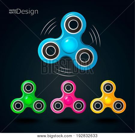 Set of Fidget Spinner icons. Vector illustration.
