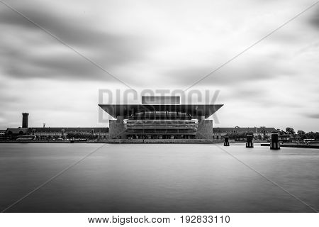 Copenhagen Denmark - August 12 2016: Opera House building in Copenhagen. Long exposure shot. Black and white