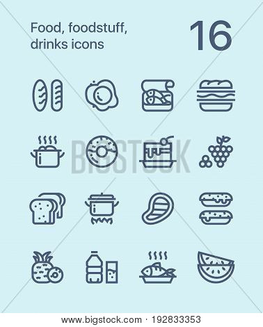 Outline Food, foodstuff, drinks icons for web and mobile design pack 1 poster