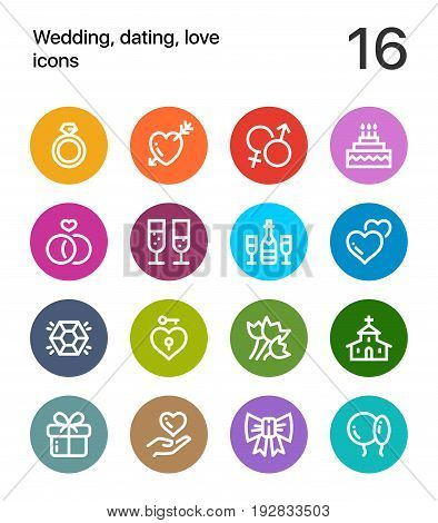Colorful Wedding, dating, love icons for web and mobile design pack 1