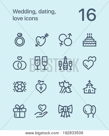 Outline Wedding, dating, love icons for web and mobile design pack 1