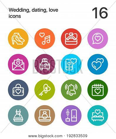 Colorful Wedding, dating, love icons for web and mobile design pack 2