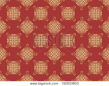 Elegant golden knot sign. Red and golden yellow seamless pattern beautyful calligraphic flourish with pearls. Raster illustration