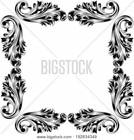 Vintage border frame engraving with retro ornament pattern in antique baroque style decorative design. Vector