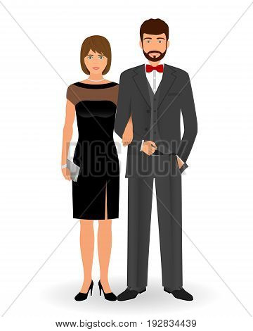 Male and female couple in elegant clothes for official social events. Black tie dress code. Cocktail evening clothes. Vector illustration.