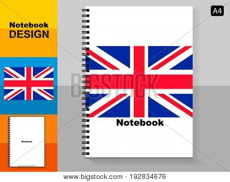 Template cover A4 notebook with trendy design: the United Kingdom flag.