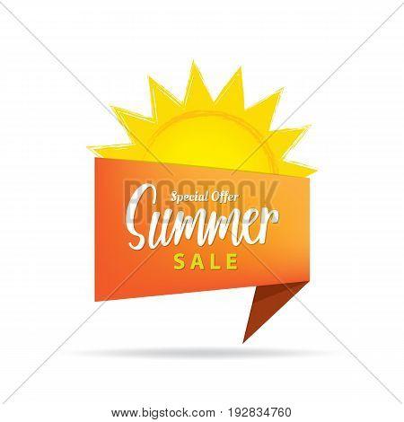 Tag Set Summer Sale Orange Heading Design For Banner Or Poster. Sale And Discounts Concept. Vector I