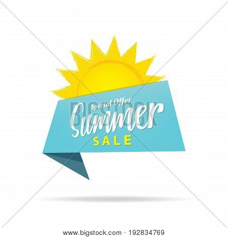 Tag Set Summer Sale Blue Heading Design For Banner Or Poster. Sale And Discounts Concept. Vector Ill
