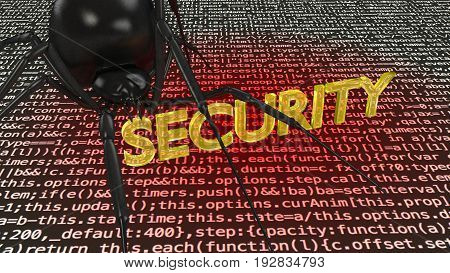 Black spider crawling over computer code infecting it with a virus by biting into the word security cybersecurity concept 3D illustration
