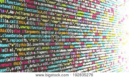 Colored computer code on a wall fading into a blurry white light software development concept 3D illustration
