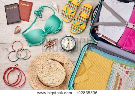 Ocean vacation background, different accessories. Family trip to marine seaside.