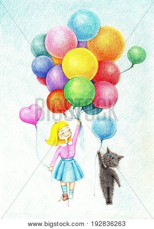 hand drawn picture of girl and cat flying on balloons by the color pencils