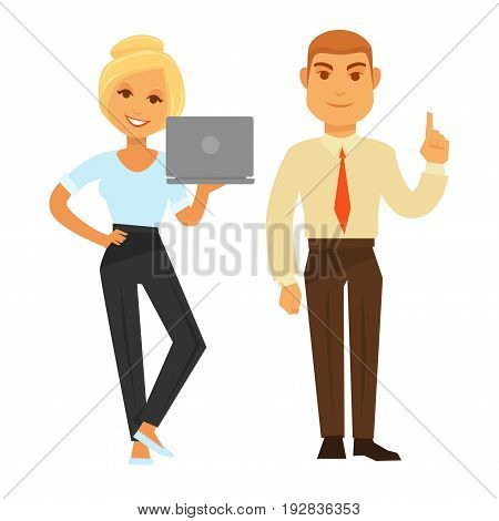 Business woman with smile holding laptop and man showing have idea gesture sign. Vector colorful illustration in flat design of two office co-workers in formal clothes standing isolated on white