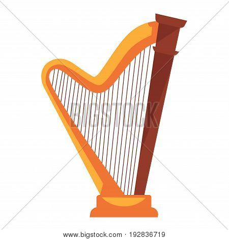 Big golden metal harp with main wooden detail and wavy part on small pedestal flat vector illustration. Antique Greek stringed musical instrument for creating melodies isolated on white background.