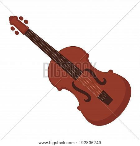 Antique elegant violin of expensive dark brown wood flat vector illustration. Stringed musical instrument for performing classical music with symphonic orchestra isolated on white background.