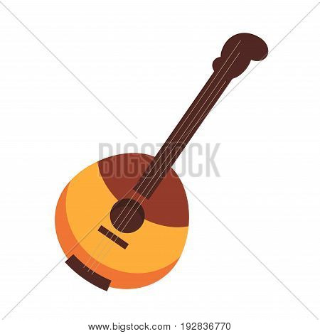 National Russian and Ukrainian stringed plucked instrument domra, that has wooden hemispherical body of two colors and three strings isolated flat cartoon vector illustration on white background.