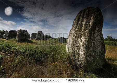big neolitic megaliths - menhirs in Carnac France