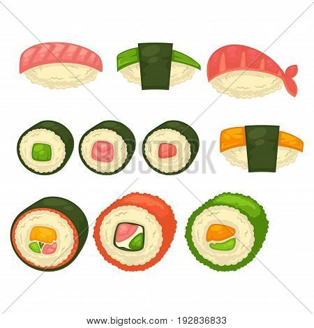 Big sushi and Maki rolls with black seaweed, small caviar, delicious salmon, king shrimp and green avocado isolated vector illustration on white background. Oriental exotic tasty seafood with rice.