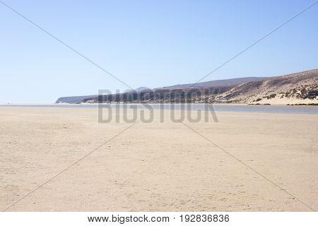 Incredible view of Costa Calma beach, blue lagoon. Playa Barca, Fuerteventura, Canary islands, Spain