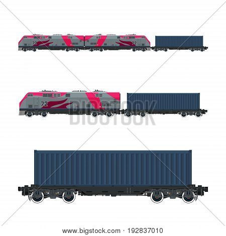 Pink Locomotive with Cargo Container on Railroad Platform Cargo Train Railway and Container Transport Vector Illustration