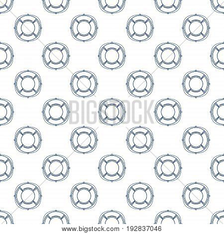 Blue Lifebuoy on White Background Seamless Maritime Travel Pattern Line Style Design Vector Illustration