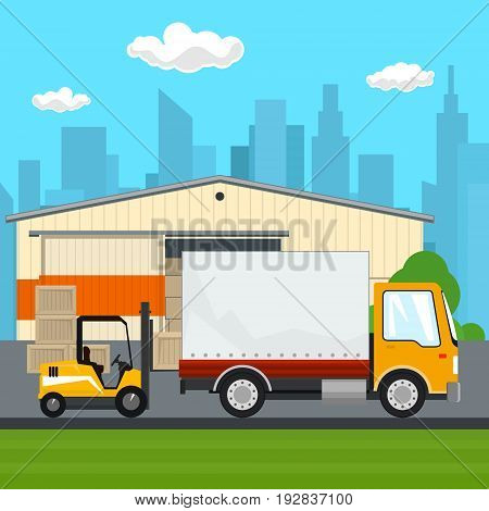 Warehouse and Transport Services Warehouse with Forklift Truck and Lorry on the Background of the City Unloading or Loading of Goods Vector Illustration