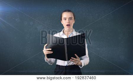 Closeup Portrait Business Woman, Financial Expert Holding Contract, Application, Reviewing Document
