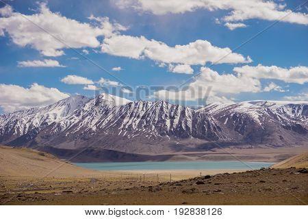 View of lake ,snow peaks with blue sky ,Leh Ladakh,  Jammu and Kashmir, India Beautiful amazing nature background landscape.