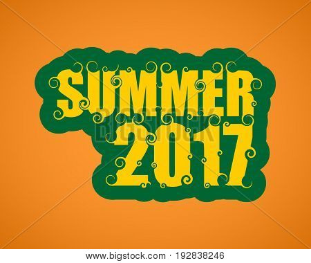 Vector lettering illustration with text summer 2017. Typography poster with abstract ornament of curls.