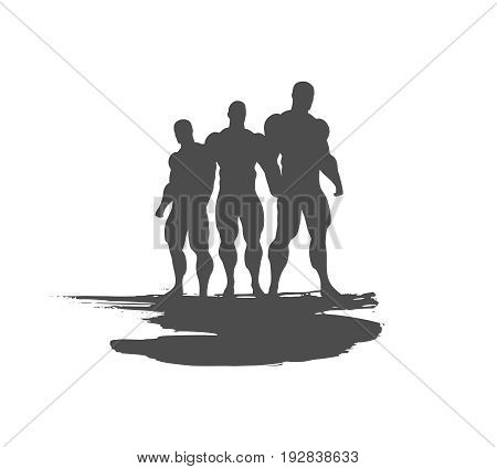 The collection of 3 Body building silhouette. Bodybuilders posing on grunge brush stroke.