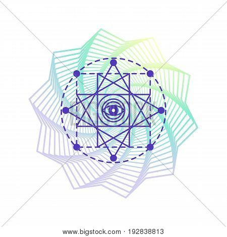 Sacred geometry alchemy symbol, isolated on white with flower mandala gradient shape. Vector hipster logo. Linear modern art. Religion, esoteric emblem
