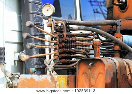 Hydraulic Control Handles of Crane Truck in Old and unsafe condition