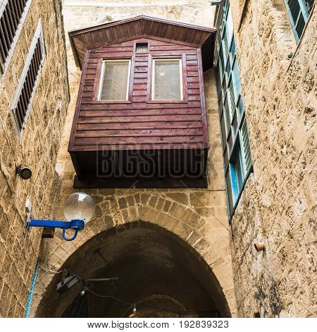 Wooden balcony on the second floor in the old quarter of Jaffa. Tel Aviv.