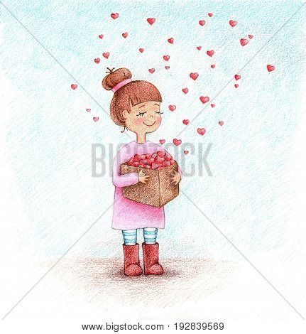hand drawn picture of girl with box of hearts by the color pencils