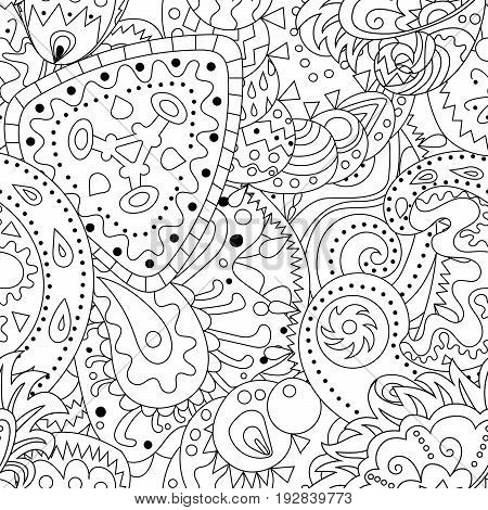 Antistress coloring page with zentangle elements. Seamless pattern with abstract ornaments. Coloring page for grown ups.