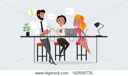 Business co working process. Three people make conversation and work together. Open space office. Man, girl, students colored vector illustration.