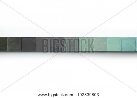 Web site menu bar or cover abstract background, consisting of colored wooden blocks. On natural white background. cool greenish tone. black, grey to dark mint green. Isolated on pure white.