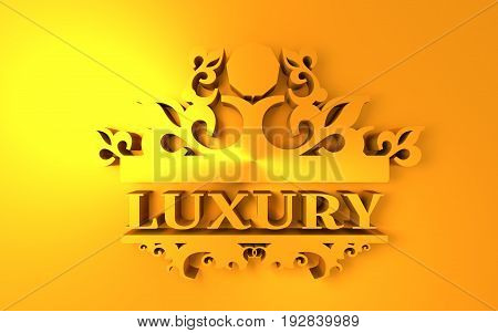 Emblem template with luxury and crown. Sign for Restaurant, Jewelry, Boutique, Cafe and Hotel. 3D rendering