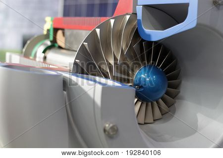 Close up impeller in side Indsustrial air blower cross section viewhigh technology equipment
