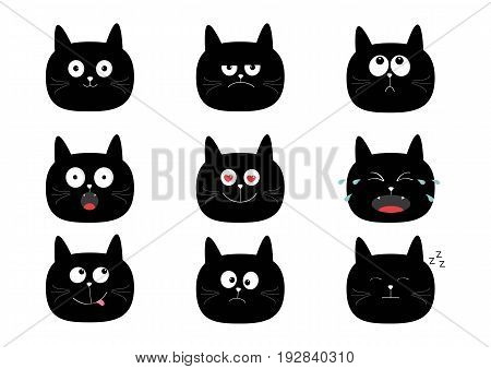 Cute black cat set. Funny cartoon characters. Emotion collection. Happy surprised crying sad angry smiling. White background Isolated Flat design Vector illustration