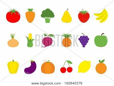 Fruit berry vegetable icon set Pear strawberry banana pineapple grape apple cherry lemon orange Pepper tomato carrot broccoli onion sweet corn beet eggplant aubergine pumpkin Vector