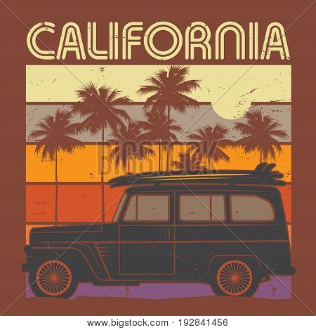 Retro illustration of old classic car poster with text California vector illustration