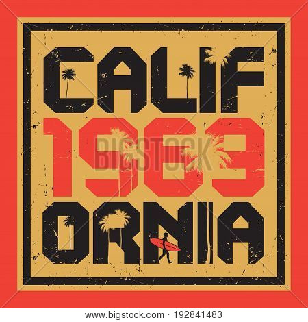 California beach surfer poster. California surf typography for t shirt print. T-shirt graphics. Vector illustration
