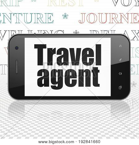 Travel concept: Smartphone with  black text Travel Agent on display,  Tag Cloud background, 3D rendering