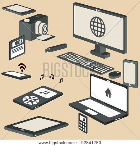 3d Isometric devices vector for yor ideas
