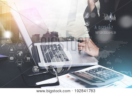 Double exposure business working on laptop with Finance Trading Stock Graph Chart. invesment analysis concept.