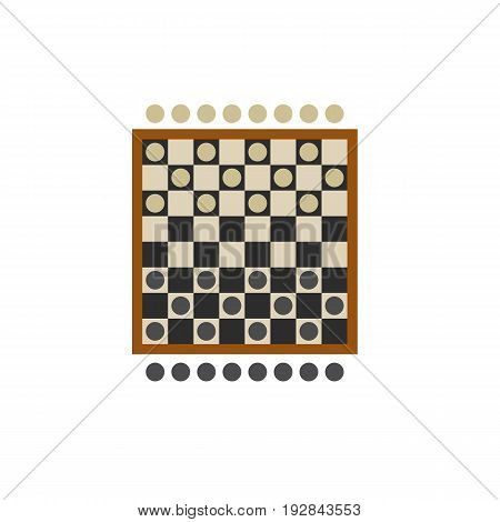 Icon of checkers board game. Draughts, competitor, activity. Board games concept. Can be used for topics like leisure, strategy or logic
