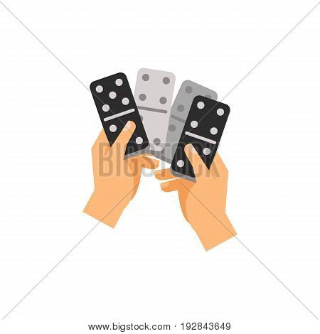 Icon of dominoes in hands. Piece, block, activity. Board games concept. Can be used for topics like leisure, entertainment or playing