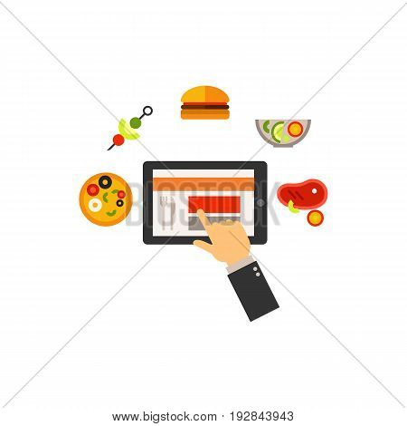 Icon of food-blogging. Website, gourmet, choosing. Blogging concept. Can be used for topics like restaurant critic, review or internet